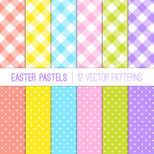 Easter Colors Pixel Gingham Pl...
