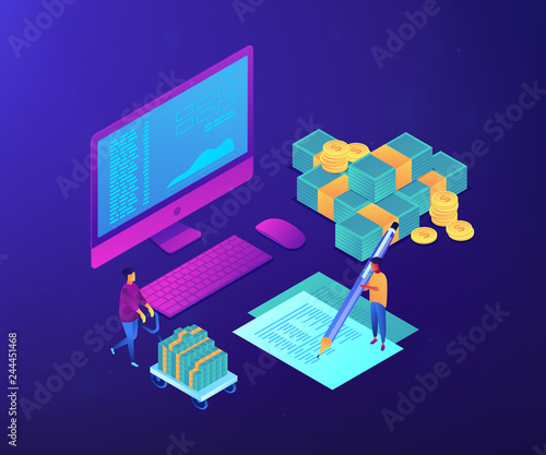 Obraz Financial analyst with computer and pen calculating cash flow statement. Cash flow statement, cash flow management, financial plan concept. Ultraviolet neon vector isometric 3D illustration. - fototapety do salonu