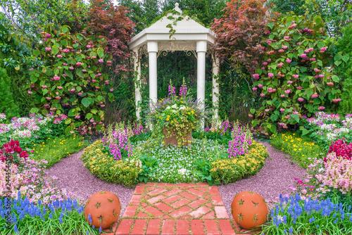 pavilion in beautiful flower garden Wallpaper Mural