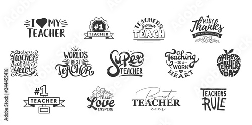 Fotografie, Obraz Happy teachers day lettering and typography quote