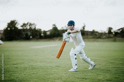 Carta da parati Cricketer on the field in action