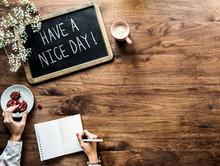 Have A Nice Day Phrase Written On A Blackboard