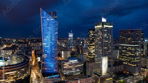 Fototapeta Panoramic view of Warsaw downtown during the night obraz