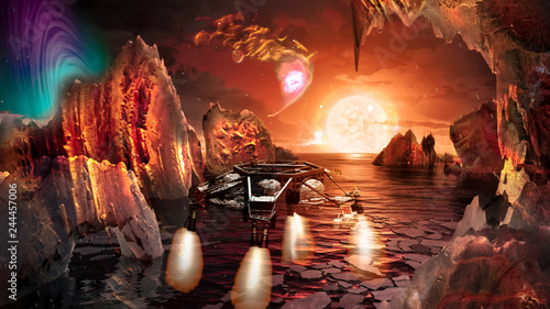 Spaceship landing on alien planet, with strange, rocky mountains with caves landscape with lake. Elements of this image furnished by NASA