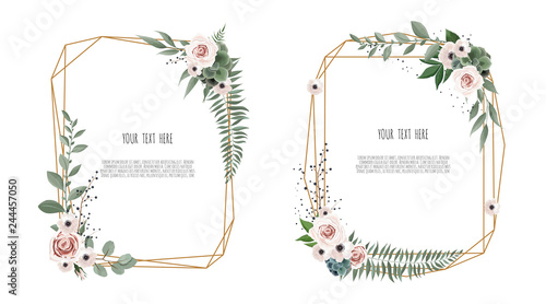 Photo Vector floral botanical card design with leaves with geometrical frame