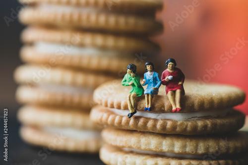 Fotografie, Obraz  ビスケットの上に座る人々