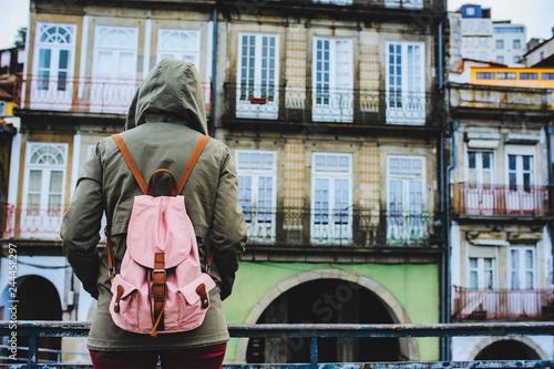 Fotografie, Obraz  Tourist woman visiting Porto, Portugal