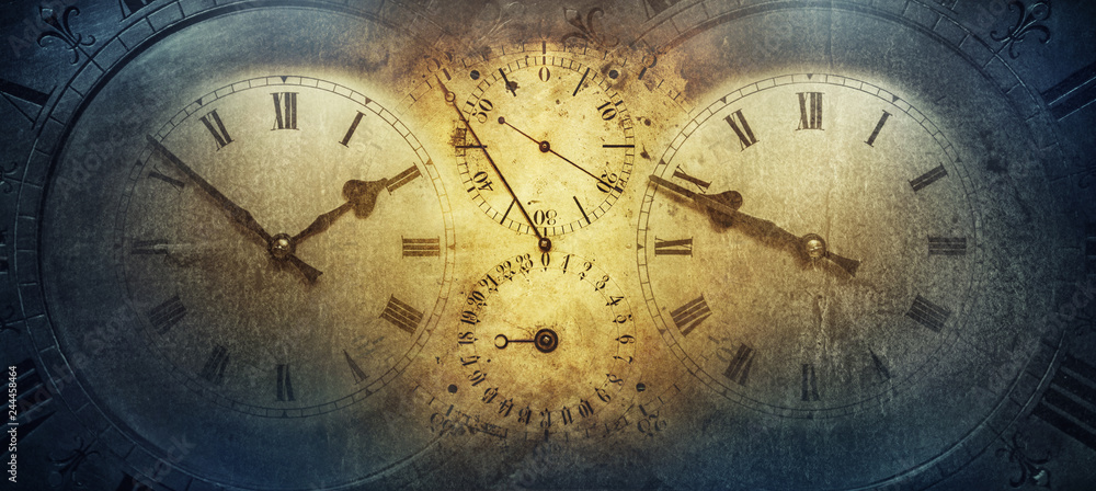 Fototapety, obrazy: The dials of the old antique classic clocks on a vintage paper background. Concept of time, history, science, memory, information. Retro style. Vintage clockwork background.
