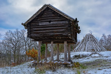 Winter View Of Preserved Sami Camp From The Beginnings Of The 20th Century, Used In Lappland. Skansen, Stockholm, Sweden.