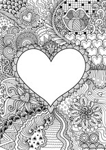 Empty Hearted Shape For Copy Space Surrounded By Beautiful Flowers For Printing,card,invitation, Coloring Book,coloring Page And Colouring Picture. Vector Illustration