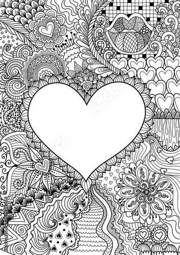 empty hearted shape for copy space surrounded by beautiful flowers for printing,card,invitation, coloring book,coloring page and colouring picture Poster Mural XXL