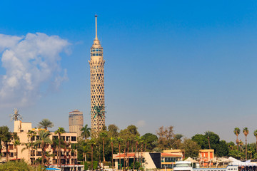 View of the tall TV tower in Cairo, Egypt