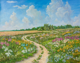 Fototapeta Inspiracje na lato Summer landscape and country road on canvas hand drawn. Blossoming spring field. Sunny day, blue sky with light clouds. Original oil painting on canvas.