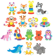Collection Of Funny And Colorful Toy Animals, Vector Illustrations In A Cartoon Style