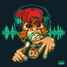 Monkey DJ. Monkey Rapper. Hand...