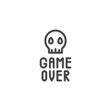 Game Over Skull Line Icon. Lin...