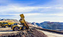 Dumper Truck Tilting The Ore L...