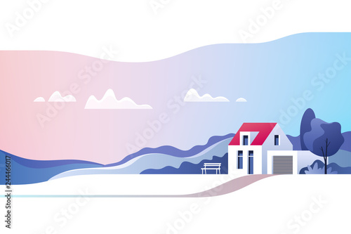 Rural landscape. Suburban traditional house. Family home. Vector illustration.