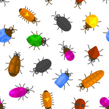 Cartoon Seamless Insects Background. Bugs Pattern. Vector