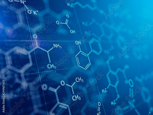 Fotografia  Chemistry and Medical abstract blue background . 3d rendering