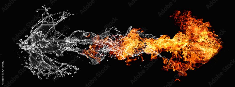 Fototapety, obrazy: 反発する水と炎の矢