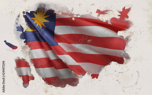 Photo  Malaysian Flag, Malaysia National Colors Background  <<3D Rendering>>