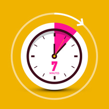 7 Seven Minutes Clock Vector Icon