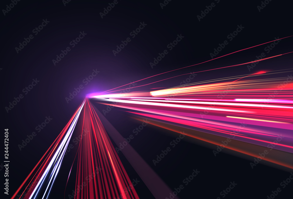 Fototapety, obrazy: Vector image of colorful light trails with motion blur effect, long time exposure isolated on background