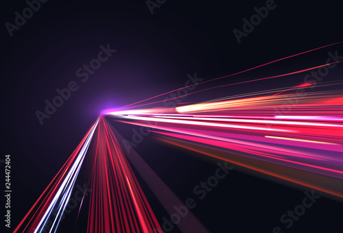 Fotografía Vector image of colorful light trails with motion blur effect, long time exposur