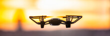 Drone Flying Outside In Sky Su...