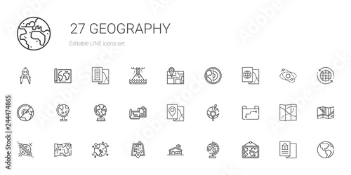 geography icons set Wallpaper Mural