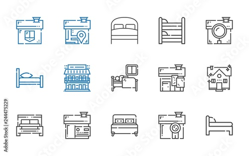 Cuadros en Lienzo  hostel icons set