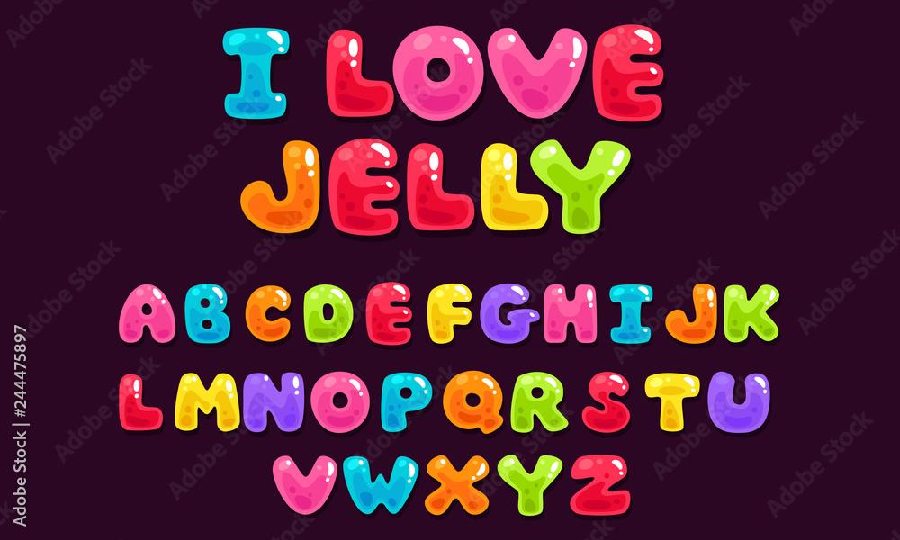 Fototapeta Jelly colorful bold kid font