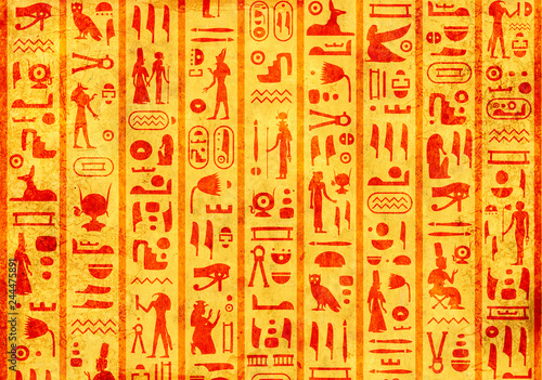 Grunge background with ancient egyptian hieroglyphs