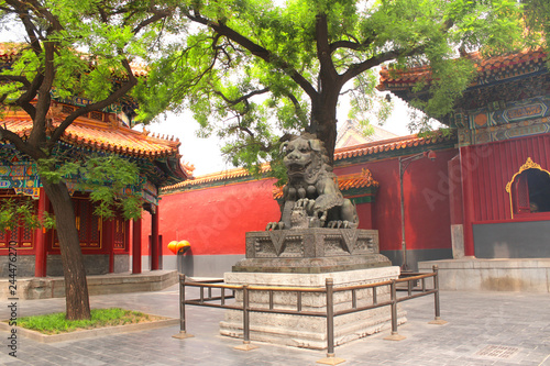 Lion statue  in Yonghegong Lama temple, Beijing, China