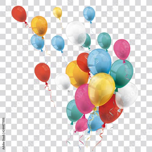 Fotografie, Obraz Colored Transparent Balloons Bunch Wind