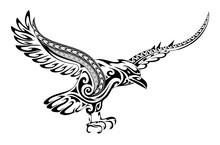 Tribal Tattoo Crow Shape