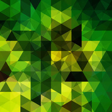 Background Of Yellow, Green, Black Geometric Shapes. Abstract Triangle Geometrical Background. Mosaic Pattern. Vector EPS 10. Vector Illustration