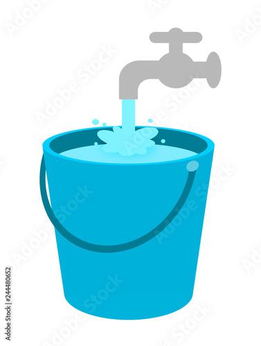 Fotografie, Obraz  バケツに溜まる水
