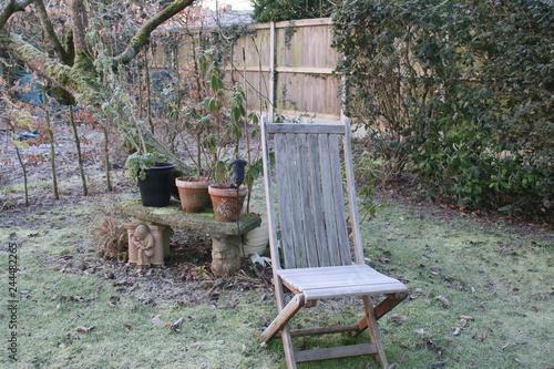 Brilliant Peaceful Winter Landscape Garden Frost Vintage Wood Seat On Ibusinesslaw Wood Chair Design Ideas Ibusinesslaworg