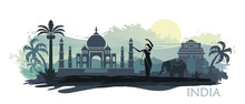 Stylized Landscape Of India Wi...
