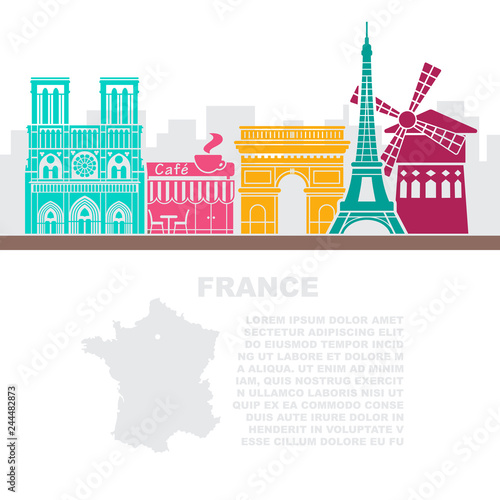 Template leaflets with a map of France and architectural landmarks of Paris Canvas Print