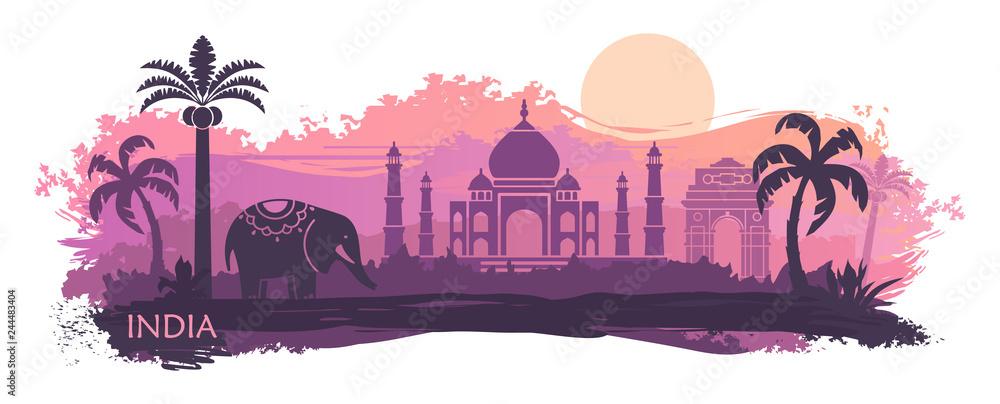Fototapeta Stylized landscape of India with the Taj Mahal and elephant. Vector background