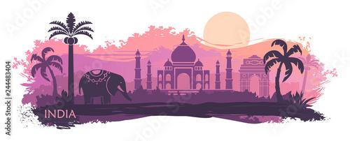 Fototapeta Stylized landscape of India with the Taj Mahal and elephant. Vector background obraz