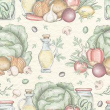 Seamless Pattern With Vegetable Compositions Isolated On Beige Paper Texture Background. Lead Pencil Graphic And Digital Illustration