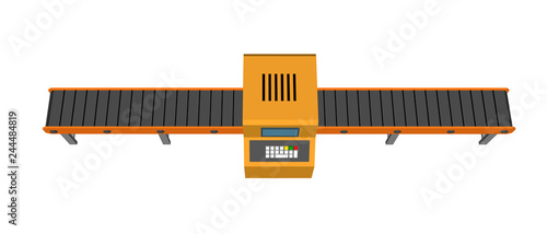 Fotomural Empty conveyor belt with monitor. Isolated on white background.