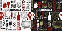 Typographic Vector Beer Seamless Pattern Or Background. Types Of Beer And Hand Drawn Illustrations For Bar, Pub, Cafe, Fest And Packaging.