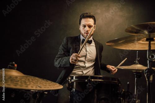 Leinwand Poster professional drummer