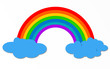 Color rainbow with clouds isolated