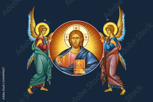 Fotografie, Obraz  Jesus medallion with angels